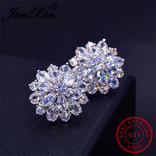 JUNXIN Female Snowflake Stud Earring 100% Real 925 Sterling Silver Jewelry High Quality AAA Zircon Double Earrings For Women(China)
