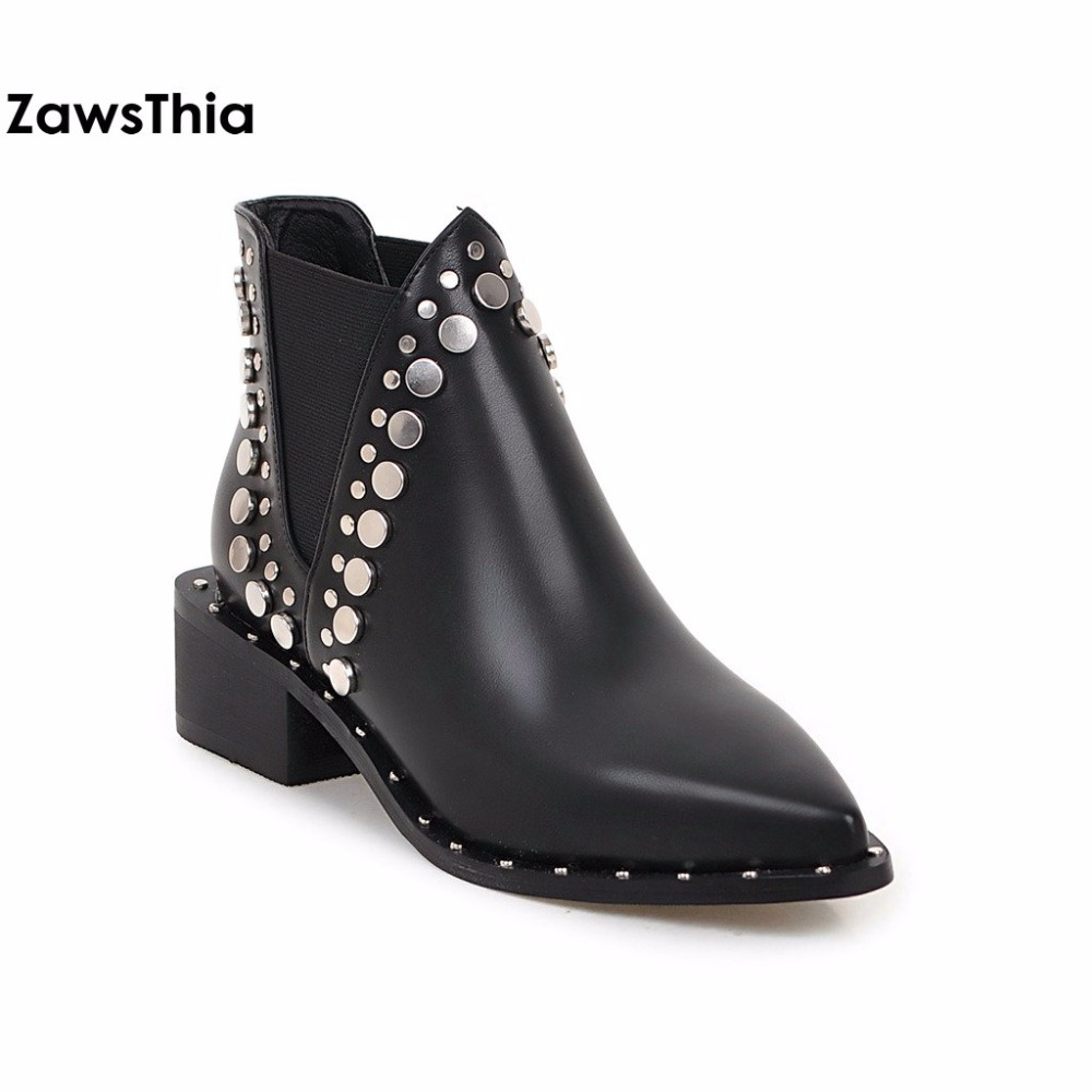 ZawsThia point toe black winter PU leather women shoes square med heel punk studded ankle boots motorcyle riding chelsea boots <br>