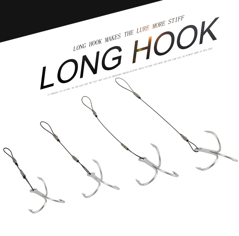 RoseWood Carp Fishing Hook Size #6 #1 #10 #20 Treble Hook Fishing Line Connect Soft Baits High-Carbon Steel Fish Hook (4)