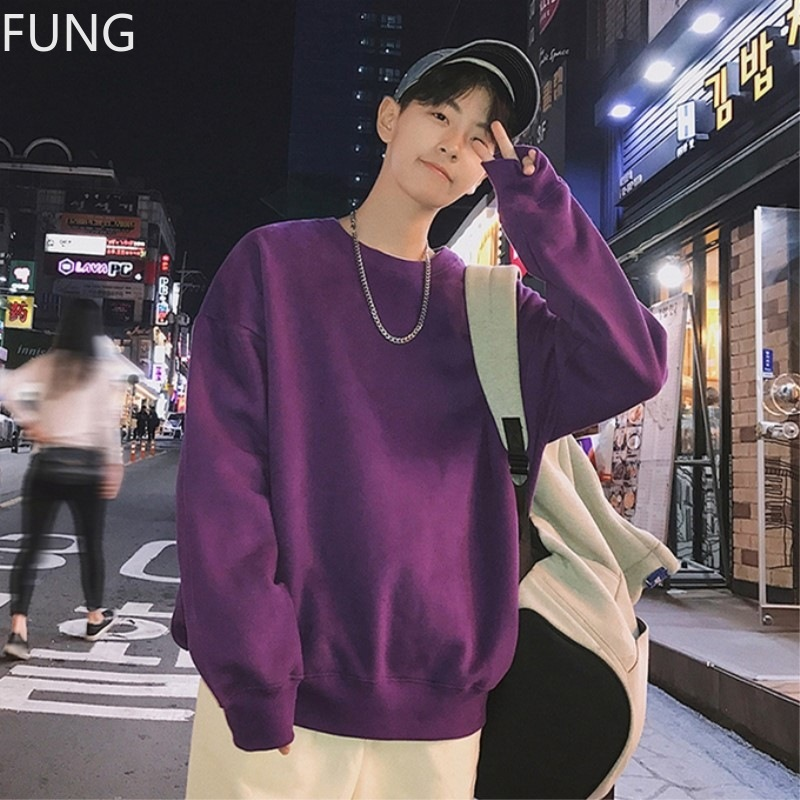 FUNG Men's Sweatshirt Pullover autumn Korean style loose-necked Casual Cotton Solid Streetwear Harajuku Sweatshirt Men