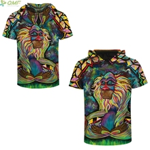 Watercolor Baboons Men Hoody Tee Shirts Print Fashion Streetwear Pop Art Orangutan Hoody Tee Shirts Casual Hooded Tops Slim Fit(China)