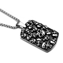 HIP Punk Gothic Mexican Tattoo Skulls Pendants Necklaces Cool Titanium Stainless Steel Dog Tags Necklace for Men Jewelry