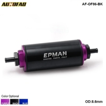 AUTOFAB - Racing Ready Inline Fuel Filter 8.6MM with 100 Micron Element Steel SS Universal High Pressure AF-OF86-BK(China)