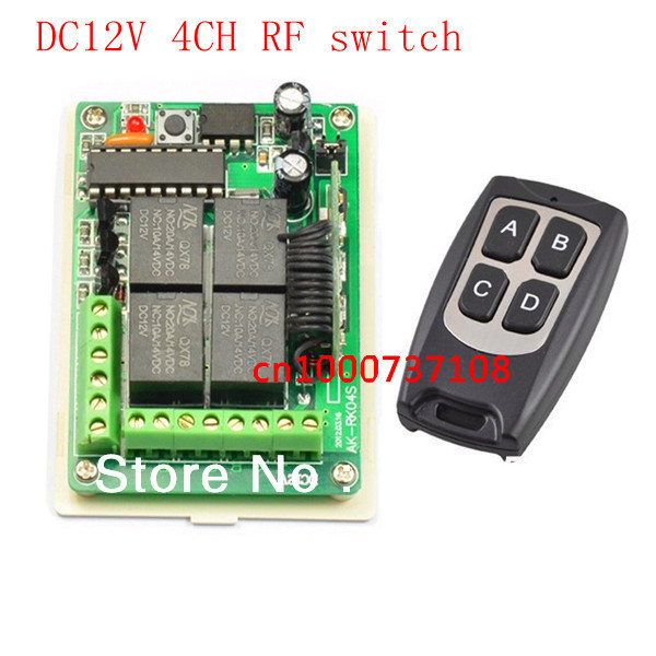 New Free Shipping DC 12V 10A 4CH Learning Code RF Wireless Remote Control Switch Systems 1 Receiver 1 controller<br><br>Aliexpress