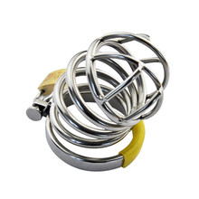 Buy Hot Cock Lock Stainless Steel Penis Cage Cock Ring Penis Sleeve Male Chastity Device Cage Belt Cockring Bondage Sex Toys Men