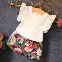Girls Summer Clothes Set Children Sleeveless Solid T-shirt + Short Print Pants 2016 Girl Clothing Sets For Kids CF104 H8