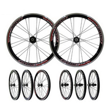 230916/Folding Wheel Group Bicycle Pine Flower Drum 20 inch aluminum alloy double V brake ring quick release type rim(China)
