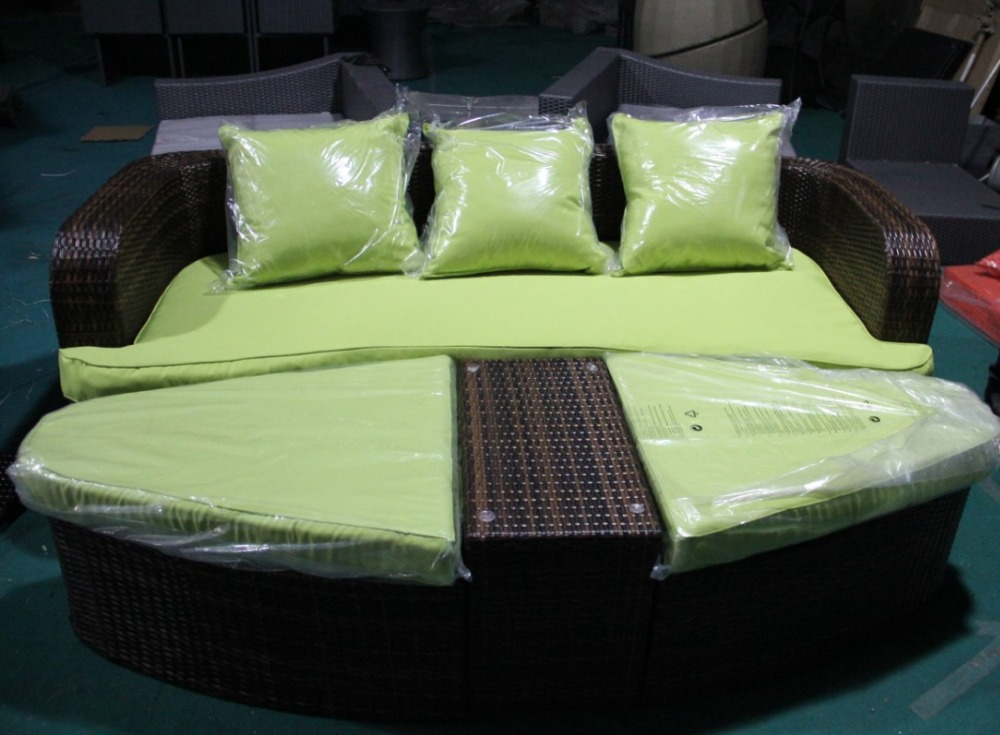 Sigma Resin Outdoor Furniture Sectional Sofa Bed Wicker Daybeds