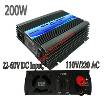200W mppt solar grid tie inverter,pure sine wave power inverter,22-60V DC input,120/230V AC output,CE,free shipping
