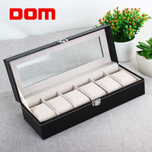 DOM New 6 Grid Luxury Refinement Slots Watches Gift Case Fashion Jewelry Display Boxes Storage Holder
