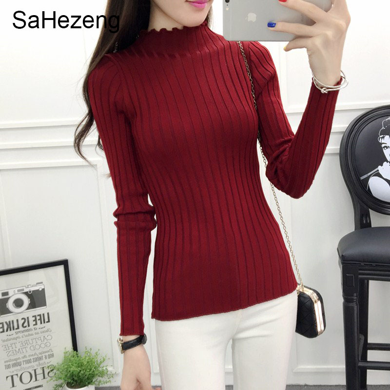 SaHezeng Women Sweater Solid 2017 New Fashion Sweater Women Slim Casual Knitted Pullovers Sueter Mujer Chandail jumper S10(China)