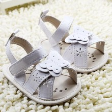 Newborn Baby Sandals Infant Girls Cute Butterfly Shoes Toddler Hollow Out White Flats Summer Hook&Loop Breathable Shoe 0-18Month