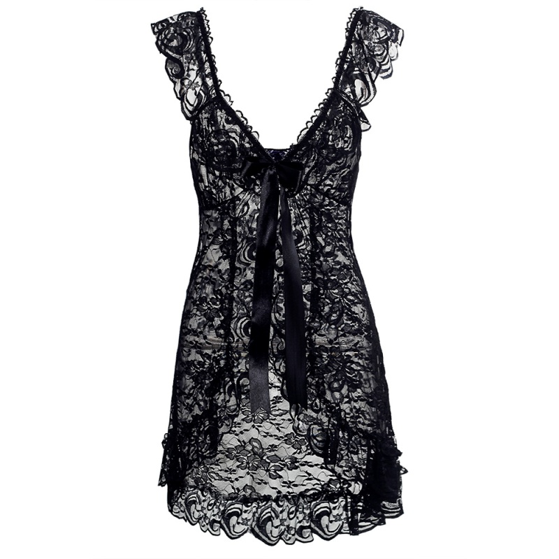 Women Sexy Lingerie Front Open Sleepwear Sets Plus Size Europe and America style sexy lace perspective dress + T pants 6