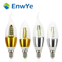 EnwYe 10pcs E14 Led Candle Energy Saving Lamp Light Bulb Home Lighting Decoration Led Lamp E14 5W 7W 220V 230V 240V SMD2835(China)