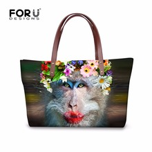 FORUDESIGNS Fashion Casual Women Handbag Funny Monkey Large Ladies Shoulder Bags Famous Brand Handle Pack Waterproof Animal Tote