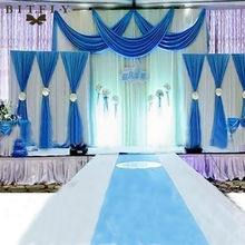 3PCS Ice Silk Pleated Wedding Backdrop Curtain Decoration&Swag Background Decor-L1(China)