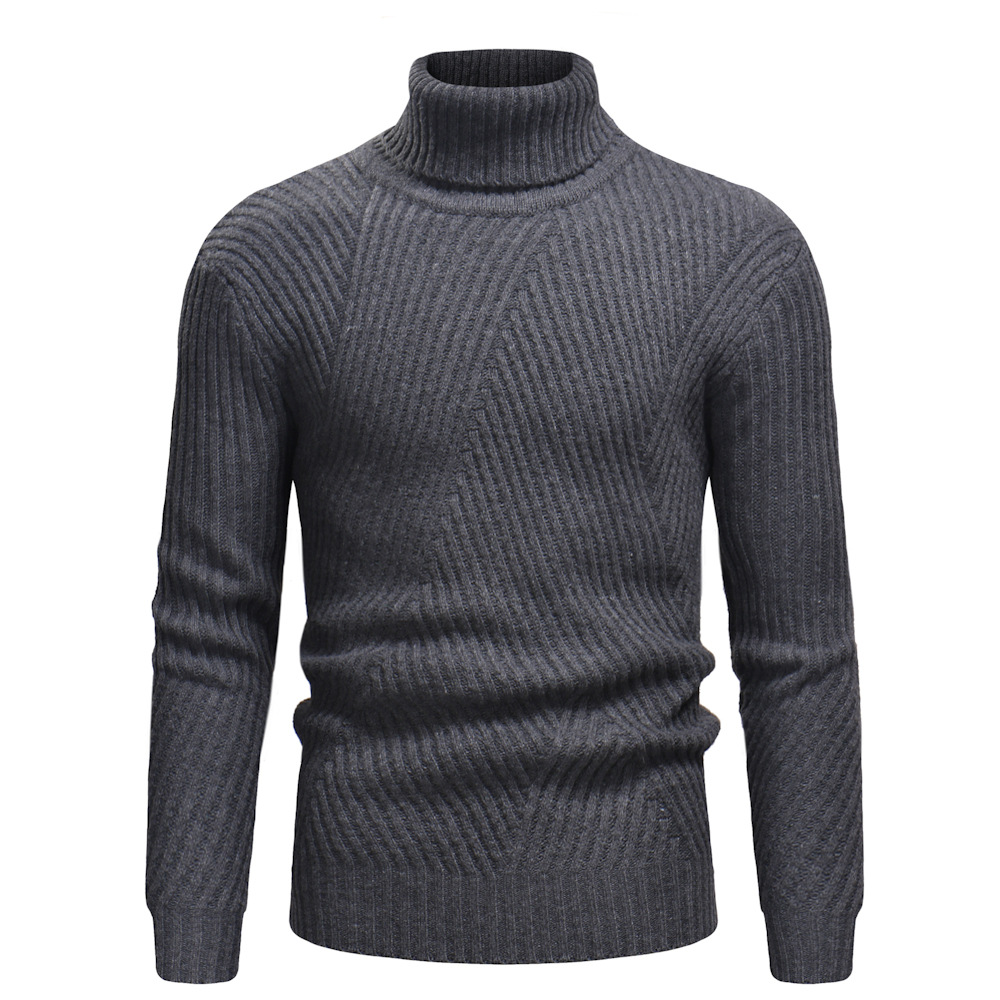 2018 Autumn New Man Stripe Design Turtleneck Winter Thermal Men's Sweaters Male Jumper Knitwear Clothes