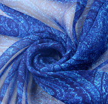 Wholesale 1Meters (Width 135cm) 100% Real Mulberry Silk Chiffon Print Blue Paisley Pattern Fabric For Dress DIY Sewing(China)