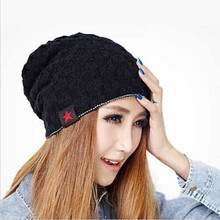 Unisex Women Winter Skull Men Knit Beanie Reversible Baggy cotton Cap Warm Hat Black Cool