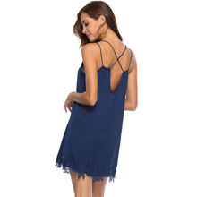 Buy CUHAKCI Backless Spaghetti Strap Sexy Dresses Women Sleeveless V-Neck Loose Summer Lace Dress Beach Mini Party Club Dress Female for $10.36 in AliExpress store