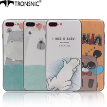 Tronsnic Cat Phone Case for iPhone 6 6s plus 7 plus Cute Animal Panda Polar Bears Case Kitty Hippo Blue for iPhone 8 8plus Cover(China)