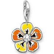 Yellow Orange Flower Romantic Charm Pendant Fit Bracelet Bag, Bijoux Thomas Style Charm 925 Sterling Silver Jewelry for Women(China)