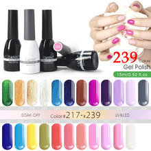 15ml CANNI Gel Nail Polish Nail Art Design 62507 Best Matte French Tip 239 Colors 1pc Mirror Bling Soak off UV Nail Gel Polish