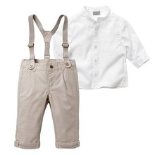 2017 New Fashion 2pcs Casual Kids Boys Clothing Sets Long Sleeve Tops Shirt  + Casual Long Suspender Pant Trousers Sets
