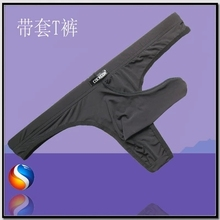 Free shipping Mix-Colors Men's Super Sexy Thong Pouch Penis Sleeve Smooth Silky Men Cock Glove Underwear(China)