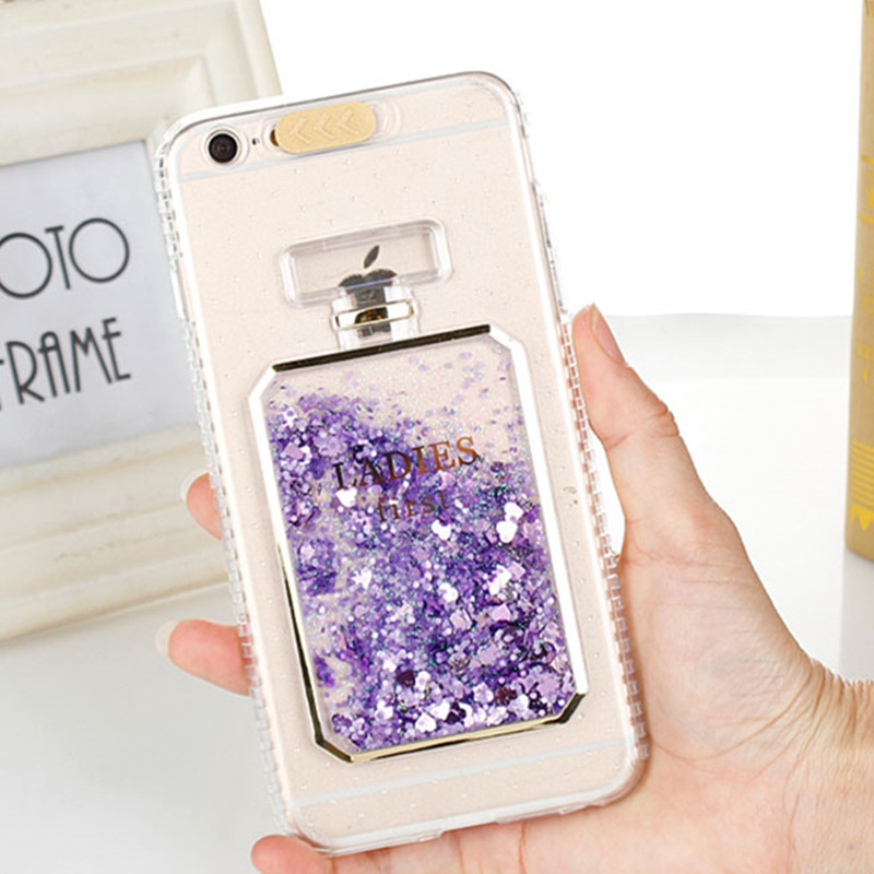 sFor iPhone 7 Case iPhone 6 Fashion Bling Liquid Quicksand Perfume Bottle Phone Case iPhone 8 7 Plus 6S 6 Plus Dynamic Cover