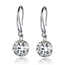 RUOYE 2017 New Luxury AAA Zircon Earrings Korea style Fashion Stud Earrings Long CZ New Silver Earrings Best Friend Gift jewelry