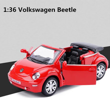 1:36 alloy pull back car toy, high simulation Volkswagen Beetle Convertible model, metal castings, toy vehicle, free shipping