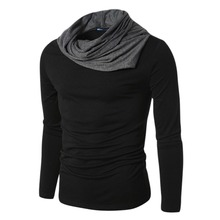 Lisli Brand Clothes Mens Long Sleeve Pullovers Turtle Neck T Shirt Men Novelty Tshirt Full Sleeves Clothes Black Gray 01S0199(China)