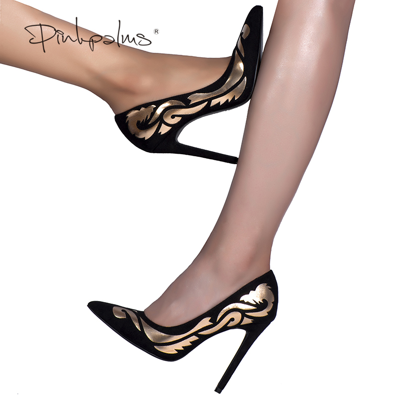 Pink Palms sexy women summer pumps shoes autumn high heel pumps ethnic totem pointed toe party wedding pumps<br>