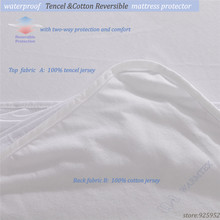 120X200cm/190cm high quality natural fabric Reversible Tencel Cotton cloth Mattress Protector/ Mattress Cover Waterproof(China)