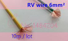 Electrical Wire RV 6 square mm Copper Core PVC Insulated 10 Meter / lot 6mm2 Soft Stranded Wire Power cable(China)