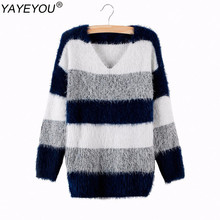 YAYEYOU Plus Size Spring Women Striped Pullover Crochet Sweater Casual Tops Warm Knitted Jumper Handsome Maternity Sweaters