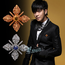2pcs Vintage Men's Suits Hexagram Diamond Brooch Buckle Collar Pin Female Korean Influx Of People Brooch Jewelry Personalized