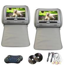 9 inch 2 pcs LCD Monitor Car Headrest 1 Pair Car pillow dvd Headrests monitor 9 inch Video player Monitors support 32-bit games(China)
