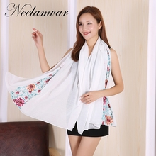 New Fashion Women Scarf high-quality Female Cotton  Scarf winter Flower Embroidery Scarves  Long Size Girls Wraps gifts