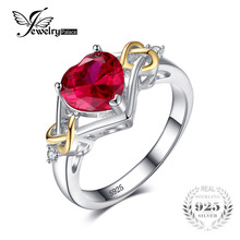 JewelryPalace Love Knot Heart 2.5ct Created Red Ruby Engagement Ring 925 Sterling Silver Jewelry 18K Yellow Gold Rings For Women(China)