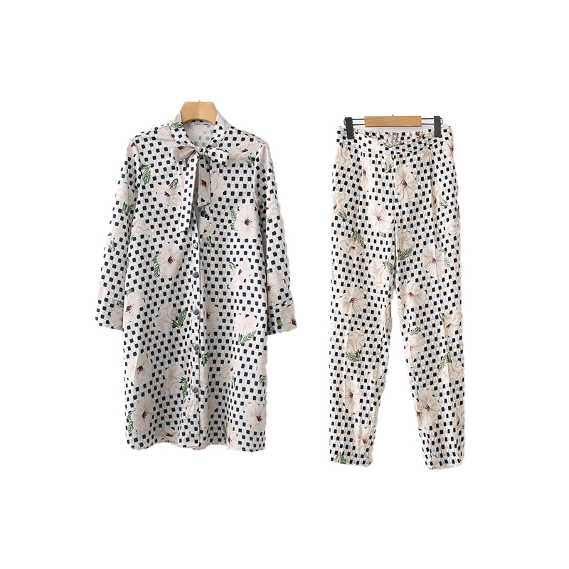 spring women suit leisure suit geometric flower print