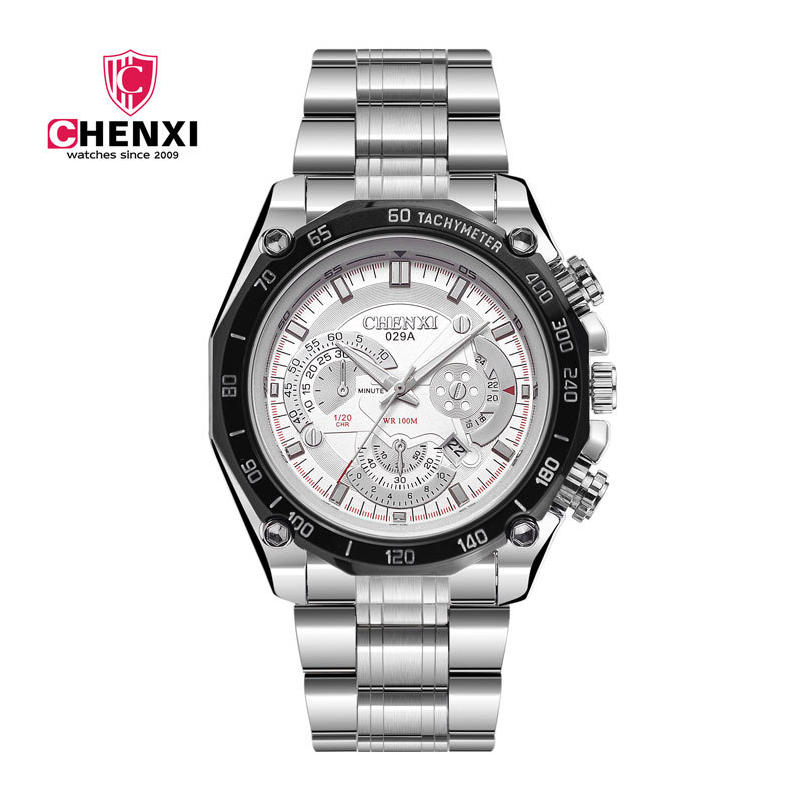 2017 Fashion Mens Watch Noctilucent Waterproof Big Dial White Silver Casual Military Sport Watch Male Quartz Wristwatch <br><br>Aliexpress