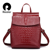 REALER brand women backpack high quality split leather shoulder bag female crocodile prints large multifunctional backpack(China)