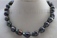 "free shipping  >18"" Genuine Natural 20mm Black Baroque Reborn Keshi Pearl Necklace"