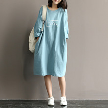Summer Autumn Art Loose Batwing Sleeve Half Sleeve Women Dress Casual Lovely Style Sexy Dresses Cotton Vestidos
