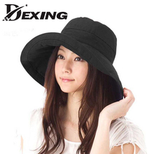 [Dexing] sun hat anti-UV cotton summer hat for women vacation wide Brim beach hat foldable bucket hat large brim cap 5 color(China)