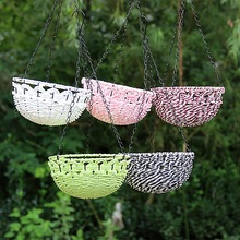 Outdoor Horticultural Supplies Multicolor Rattan Hanging Baskets 19-20cm Hooked Flower Pots Garden Decoration Home Plant Pots(China)