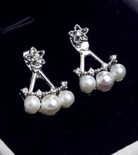 EY633 2015 new trend fashion After the three-pointed star pearl earrings ladies gorgeous woman hanging wholesaler(China)