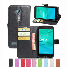 Wallet Case For ASUS Zenfone Go ZB500KL ZB500KG PU Leather Kickstand Back Shell Pink Rose Green Purple Blue Black White Brown